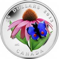 Canada 2013 20$ Purple Coneflower with Venetian Glass Butterfly (2013) Proof Silver Coin