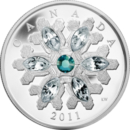 Canada 2011 20$ Emerald Crystal Snowflake (2011) Proof Silver Coin