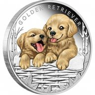 Golden Retriever Puppies Proof Silver Coin 50 Cents Tuvalu 2018
