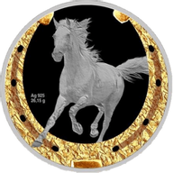 Orlovsky Trotter Horses Proof Silver Coin 1$ Niue 2014