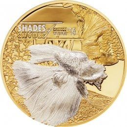 Cook Islands 2016 5$ Fighting Fish Shades of Nature Proof Silver Coin