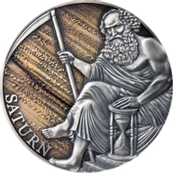 Saturn Planets and Gods 3 oz Antique finish Silver Coin 3000 Francs CFA Cameroon 2021