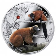 Red Ruffed Lemur - Endangered Animal Species Proof Silver Coin  1$ Niue 2014