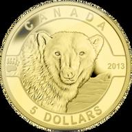 Canada 2013 5$ The Polar Bear 2013 O Canada 1/10 oz Proof Gold Coin