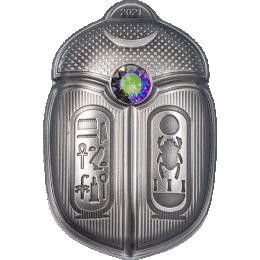 King Tut Scarab 1 oz Antique finish Silver Coin 5$ Palau 2021