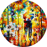 Micropuzzle Treasures Couple Under One Umbrella Leonid Afremov 3 oz Proof Silver Coin 20$ Palau 2022