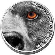 Congo 2017 2000 franc Nature's Eyes Kodiak Bear 2 oz Antique finish Silver Coin