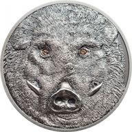 Wild Boar-Sus scrofa Wildlife Protection 1oz Antique finish Silver Coin Mongolia 2018 500 togrog