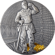 Crypto Mining 50 g Antique finish Silver Coin 2$ Niue 2021
