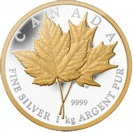 Canada 2013 250$ Maple Leaf Forever  Proof Silver 1 kilogram Coin with selective gold plating