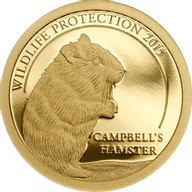 Mongolia 2015 500 togrog Campbell's Hamster Wildlife Protection 0.5 g Proof Gold Coin