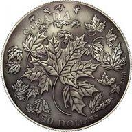 30th Anniversary Maple Leaf 5 oz Antique finish Silver Coin 50$ Canada 2018
