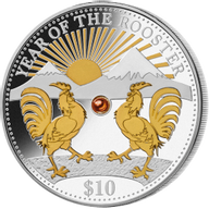 Fiji 2017 10$ Lunar 2017 - Year of the Rooster 1 oz with Pearl Proof Silver Coin