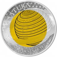 Palau 2017 2$ Solar System Saturn 6.7g Niobium + 8.3g Silver Proof Silver Coin