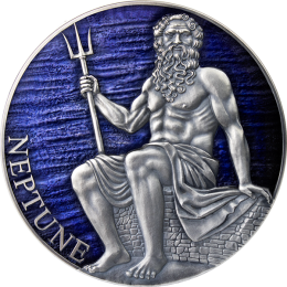 Neptune Planets and Gods 3 oz Antique finish Silver Coin 3000 Francs CFA Cameroon 2021
