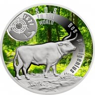 SOS To The World – They Are Gone!Aurochs 17.5 g Proof Silver Coin 1$ Niue 2016