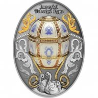 Twelve Panel Egg Imperial Faberge Eggs Proof Silver Coin 1$ Niue 2021