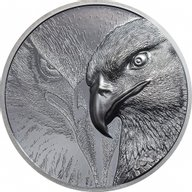 Majestic Eagle  2 oz Black Proof Silver Coin Mongolia 2020 1000 togrog