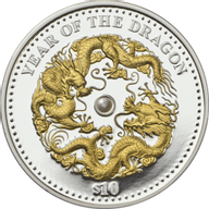 Fiji 2012 10 $ Year of the Dragon Lunar 2012 Proof Silver Coin