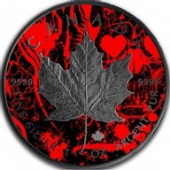 Maple Heart Skull Card Suit 1oz Black Ruthenium BU Silver Coin 5$ Canada 2018