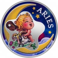 Aries Baby Zodiac 1/2 oz Proof Silver Coin 2 Cedis Republic of Ghana
