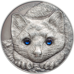 Mongolia 2017 500 togrog Sable Martes Zibellina 1 oz Antique Finish Silver Coin
