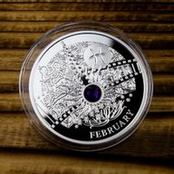 FEBRUARY  The Magic Stones of Happiness  Proof silver Coin 1$ Niue 2014