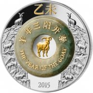 Laos 2015 2000 Kip Year of the Goat with Jade Lunar 2015 2 oz Proof Silver Coin