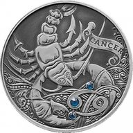 Belarus 2015 20 rubles Cancer Signs of the zodiac  Antique finish Silver Coin