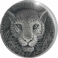 Mauquoy Haut Relief Leopard Big five 5 oz Antique finish Silver Coin 5000 francs Ivory Coast 2018