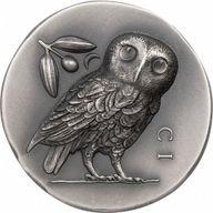 Athena's Owl 1 oz Antique finish Silver Coin 5$ Cook Islands 2021