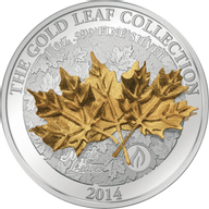 Samoa 2014 10$ Maple Leaf  3D Gold Leaves Proof Silver Coin