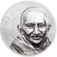 Mahatma Gandhi 1 oz Proof Silver Coin Mongolia 2020 1000 togrog