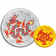 China 2012 50 & 10 Yuan Year of the Dragon (Colorized) Proof Gold & Silver Set