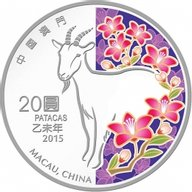 Macau 2015 20 patacas Year of the Goat 2015 Lunar Proof Silver Coin