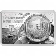 50 Years of the Moon Landing Ag 88.93 g Black Proof Silver Coin 1$ United States 2019