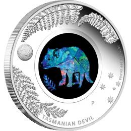 Australia 2014 1$ Tasmanian Devil  Australian Opal Series Proof Silver Coin