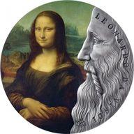 Leonardo Da Vinci World's Greatest Artists 2 oz Antique finish Silver Coin 10 Cedis Republic of Ghana 2019
