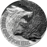 Two Wolves 1 oz Antique finish Silver Coin 2$ Niue 2021