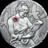 Hygeia 2 oz Antique finish Silver Coin 10 Cedis Republic of Ghana 2021
