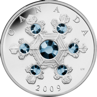 Canada 2009 20$ Blue Crystal Snowflake (2009) Proof Silver Coin