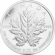 Canada 2013 50$ 25th Anniversary of the Silver Maple Leaf Coin 5 oz Proof Silver Coin