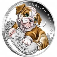 English Bulldog Puppies Proof Silver Coin 50 Cents Tuvalu 2018