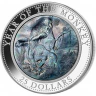Cook Islands 2016 25$  Lunar 2015 - Year of the Monkey 5 oz with Mother of Pearl Proof Silver Coin