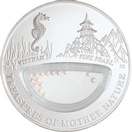 Fiji 2012 1$ Vietnam - Pink Pearl Treasures of Mother Nature Proof Silver Coin
