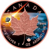 Abee Maple Leaf Atlas of Meteorites 1 oz BU Silver Coin 5$ Canada 2018