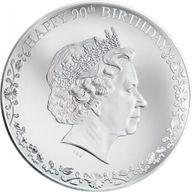 Cook Islands 2016 20$ Happy 90th Birthday Queen Elizabeth II 3oz Proof Silver Coin