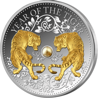 Year of the Tiger with Pearl  Lunar 2021 1 oz Proof Silver Coin 10$ Fiji 2022