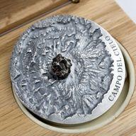 Campo del Cielo Meteorite Art 5 oz Antique finish Silver Coin 5000 Francs CFA Republic of Chad 2018