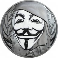 Cook Islands 2016 5$ Guy Fawkes Mask Anonymous V for Vendetta 1 oz Black Proof Silver Coin